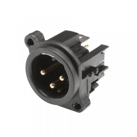 HICON XLR, 3-pol , Kunststoff-, Printtechnik vertikal-Einbaustecker, Type A, schwarz
