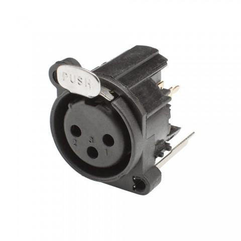 HICON XLR, 3-pole , plastic-, Print connection vertical-female connector, Type A, black