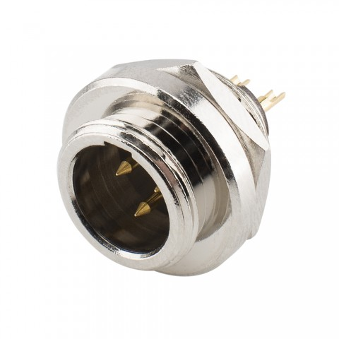 HICON Mini-XLR, IP67 , 3-pol , Metall-, Löttechnik-Einbaustecker, vergoldete(r) Kontakt(e), Gewinde 10,9 mm