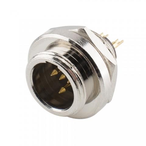 HICON Mini-XLR, IP67 , 4-pol , Metall-, Löttechnik-Einbaustecker, vergoldete(r) Kontakt(e), Gewinde 10,9 mm