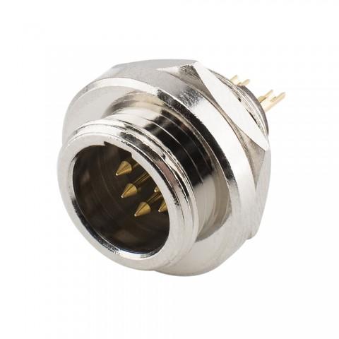 HICON Mini-XLR, IP67 , 5-pol , Metall-, Löttechnik-Einbaustecker, vergoldete(r) Kontakt(e), Gewinde 10,9 mm