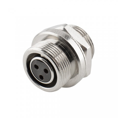 HICON Mini-XLR, IP67 , 3-pole , metal-, Soldering-female connector, gold plated contact(s), Thread 10,9 mm