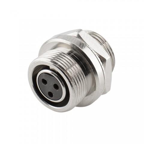 HICON Mini-XLR, IP67 , 3-pol , Metall-, Löttechnik-Einbaubuchse, vergoldete(r) Kontakt(e), Gewinde 10,9 mm