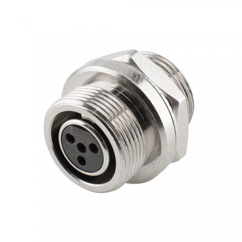 HICON Mini-XLR, IP67 , 4-pol , Metall-, Löttechnik-Einbaubuchse, vergoldete(r) Kontakt(e), Gewinde 10,9 mm