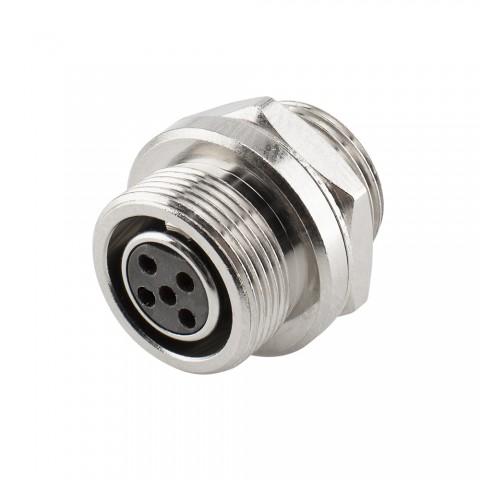 HICON Mini-XLR, IP67 , 5-pol , Metall-, Löttechnik-Einbaubuchse, vergoldete(r) Kontakt(e), Gewinde 10,9 mm