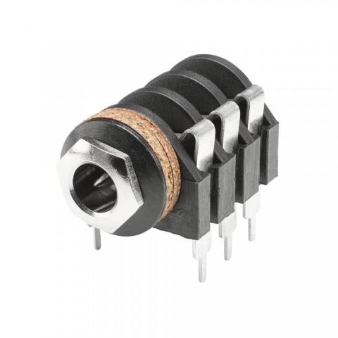 HICON Klinke (6,3mm), 3-pol , Kunststoff-, Löttechnik-Einbaubuchse, verzinnte(r) Kontakt(e), gerade, schwarz