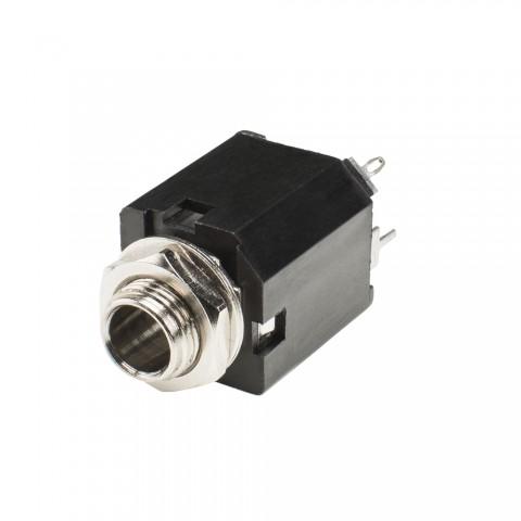 HICON Klinke (6,3mm), 2-pol , Kunststoff-, Löttechnik-Einbaubuchse, verzinnte(r) Kontakt(e), gerade, schwarz