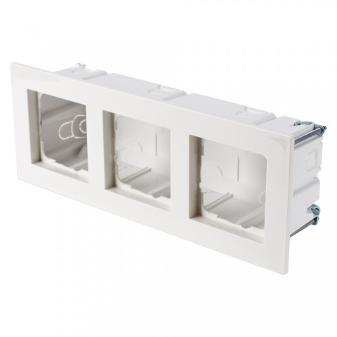Flush socket + switch frame, Flush socket + switch frame for flat mounting 4-fold, width: 150 mm, height: 50 mm, pure white