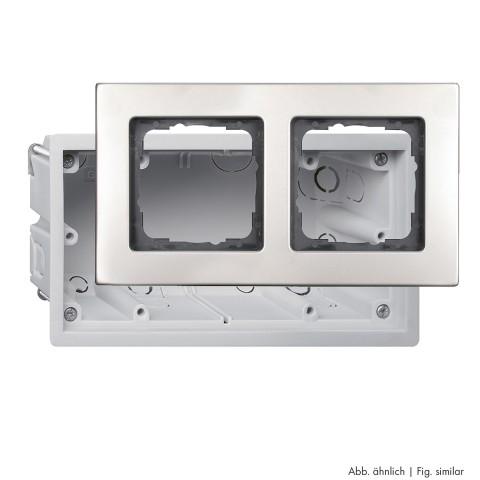 Unterputzdose + Schalterrahmen, Unterputzdose + Schalterrahmen für Flachmontage, 3-fach, Breite: 150 mm, Höhe: 50 mm, Edelstahl