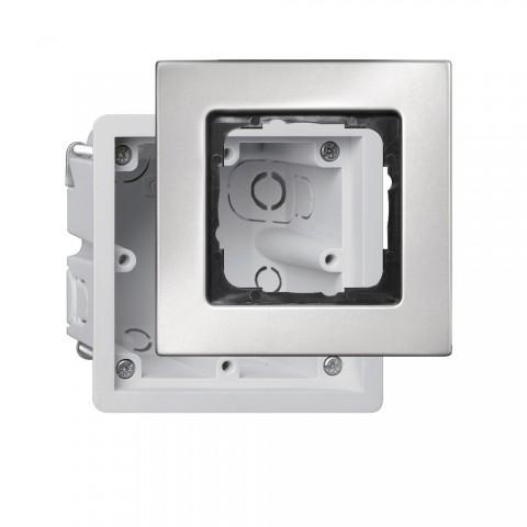 Unterputzdose + Schalterrahmen, Unterputzdose + Schalterrahmen für Flachmontage, 4-fach, Breite: 50 mm, Höhe: 50 mm, Edelstahl