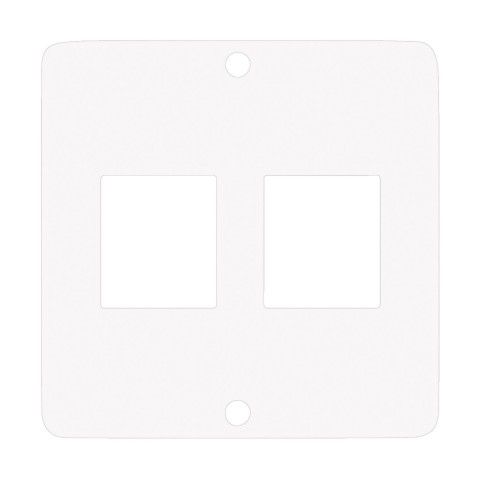 Modul with 2 x Keystone cutouts , scale: 50x50 mm, stainless steel, colour: pure white