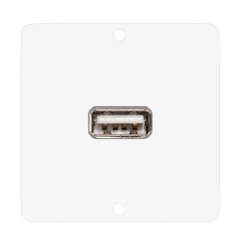 Anschluss-Modul USB-A fem. —> Schraubklemme, Baugröße: 50x50 mm, Edelstahl, Farbe: reinweiß | W50W-CP-USB-S