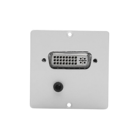 connection-modul DVI fem. + 3.5 mm stereo mini jack fem. —> Screw terminal, scale: 50x50 mm, stainless steel, colour: pure white
