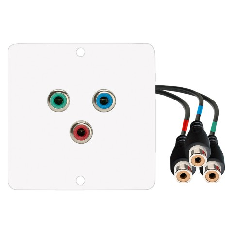 connection-modul 3 x RCA YUV red / green / blue fem. —> 0.30 m Breakout cable 3 x RCA YUV red / green / blue fem., scale: 50x50 mm, stainless steel, colour: pure white