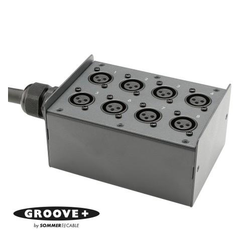 GROOVE+ Stagebox <-> Breakout , XLR 3-pole male/XLR 3-pole female; HICON; pre-wired, 1.5 mm steel panel