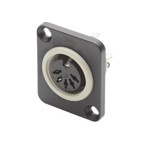 HICON MIDI-installation socket, D-flange desgin, solder version, MIDI-installation socket, 5-pole
