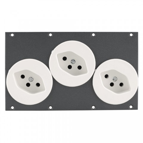 Connector Module 3 x socket swiss standard snap-in, 2 HE, 4 BE for SYS-series, colour: anthracite, RAL 7016