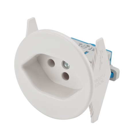 Install socket SNAP-IN, Swiss standard, 2-pole , plastic-, screw-type-female connector, nickel plated contact(s), straight, max. 2,5 mm², white