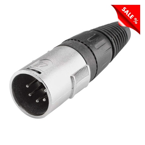 XLR, 5-pol , metal-, Soldering-male connector, straight