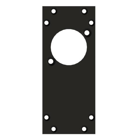 Frontblech 1 x D-Loch, 90° gedreht, 2 HE, 1 BE für SYS-Gehäuseserien, 2,5 mm verzinktes Stahlblech, Farbe: anthrazit, RAL 7016