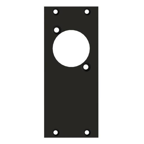 Frontblech 1 x D-Loch, 2 HE, 1 BE für SYS-Gehäuseserien, 2,5 mm verzinktes Stahlblech, Farbe: anthrazit, RAL 7016