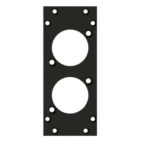 front panel 2 x D-Series cutout, 90° angled, 2 HE, 1 BE for SYS-series, 2.5 mm galvanized steel sheet, colour: anthracite, RAL 7016