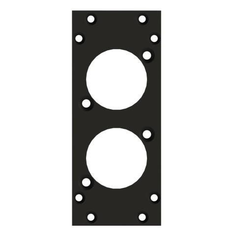 Frontblech 2 x D-Loch, 90° gedreht, 2 HE, 1 BE für SYS-Gehäuseserien, 2,5 mm verzinktes Stahlblech, Farbe: anthrazit, RAL 7016
