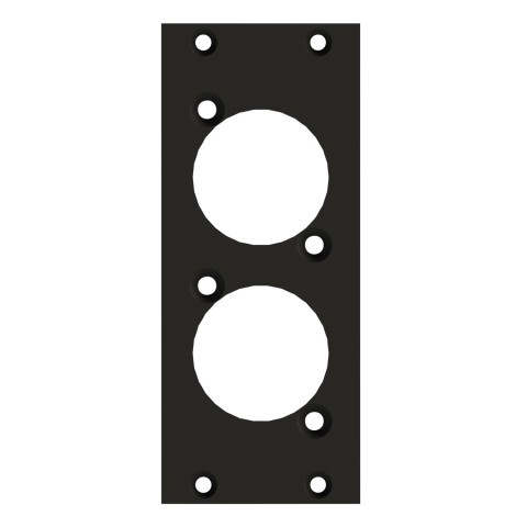 front panel 2 x D-hole, 2 HE, 1 BE for SYS-series, 2.5 mm galvanized steel sheet, colour: anthracite, RAL 7016