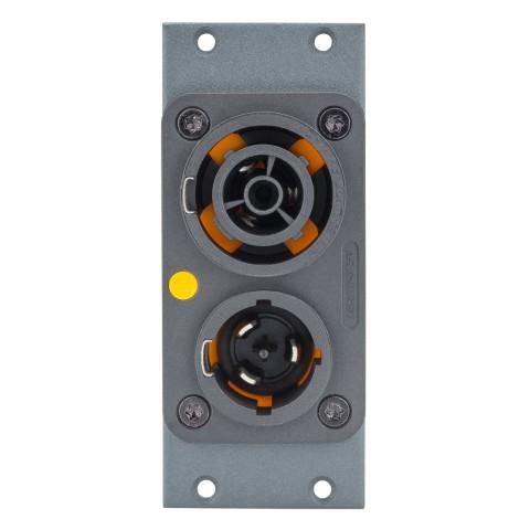 Steckverbinder-Modul Powercon T1 DUPLEX (NAC3PX), 2 HE, 1 BE für SYS-Gehäuseserien, Farbe: anthrazit, RAL 7016 | SYCFB21-NAC3PX