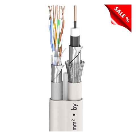 SAT-Kabel HD Hybrid, 120dB, longlife SC-Astral-LLX; Video: 1 x 1,13/5,00; 1 x CAT.5e; PVC; 14,3 x 9,7 mm; weiß