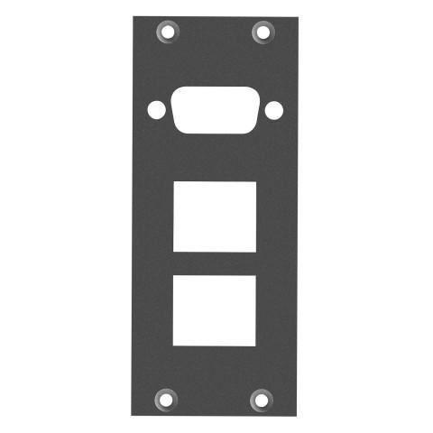 Frontblech 1 x SUB-D09 oder HDMI + 2 x Keystone 90° gedreht, 2 HE, 1 BE für SYS-Gehäuseserien, 2,5 mm verzinktes Stahlblech, Farbe: anthrazit, RAL 7016