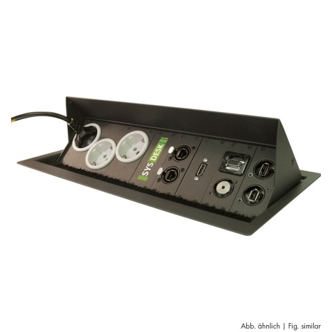 "table insert box anthracite with ""push to lift"" feature, 2 HE, 9 BE; depth: 193 mm for SYSBOXX-Module, colour: anthracite, RAL 7016"