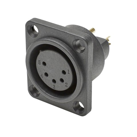 HICON XLR, Wasserdicht und staubgeschützt nach IP54 im gesteckten Zustand , 5-pol , Polyamid-Einbaubuchse, vergoldete(r) Kontakt(e), gerade