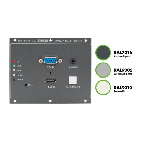 CARDINAL DVM Frontplatte Frontplatte, weißaluminium RAL9006, HDMI-, VGA- Miniklinke <> HDBaseT, Farbe: weißaluminium RAL9006