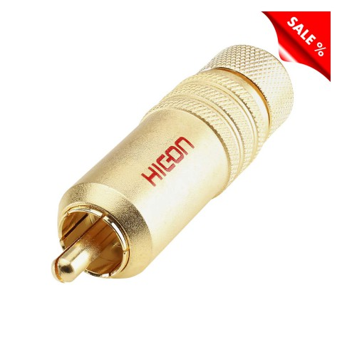 HICON RCA / phono connector, collet lock fixture, 2-pole , metal-, Soldering-male connector, gold plated contact(s), straight, gold