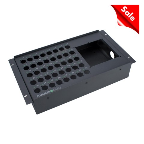 "Sommer cable Stagebox empty casing, 19"" BB-SERIES, 40 holes/1 x multipin panel hole, 6 HE, width: 483 mm, anthracite RAL7016"