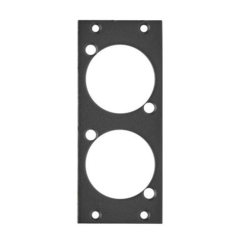 front panel 2 x NAC3FPX, 2 HE, 1 BE for Suitable for 2 x NEUTRIK® NAC3FPX powerCON® TRUE1, 2.5 mm galvanized steel sheet, colour: anthracite, RAL 7016