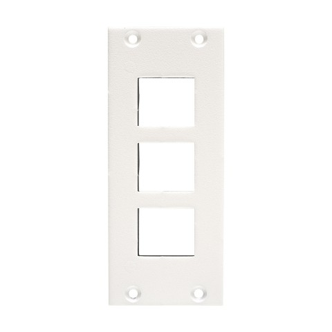 front panel 3 x Keystone, 2 HE, 1 BE for SYS-series, colour: RAL 9010