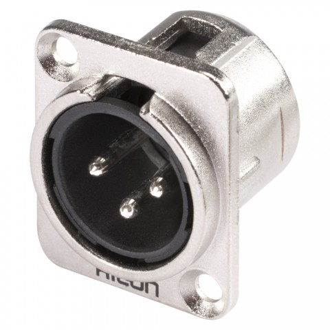 HICON XLR, 3-pol , Metall-, Löttechnik-Einbaustecker, vernickelte(r) Kontakt(e), Type D, nickelfarben