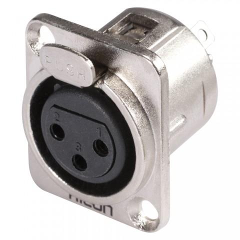 HICON XLR, 3-pol , Metall-, Löttechnik-Einbaubuchse, vernickelte(r) Kontakt(e), Type D, nickelfarben
