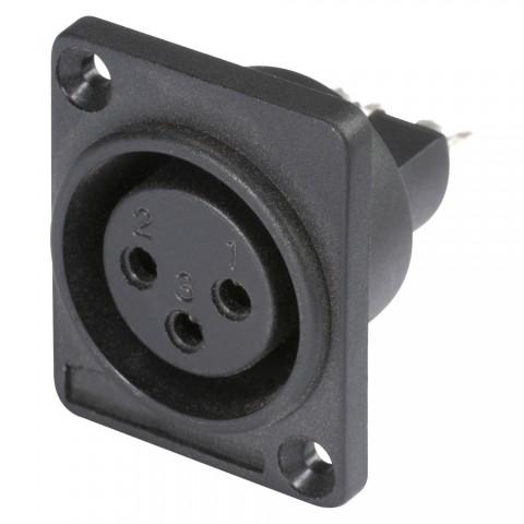HICON XLR, 3-pol , Kunststoff-, Löttechnik-Einbaubuchse, versilberte(r) Kontakt(e), Type D, schwarz