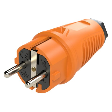 SCHUKO, 2-pole , rubber-, screw-type-male connector, nickel plated contact(s), straight, max. 2,5 mm², orange