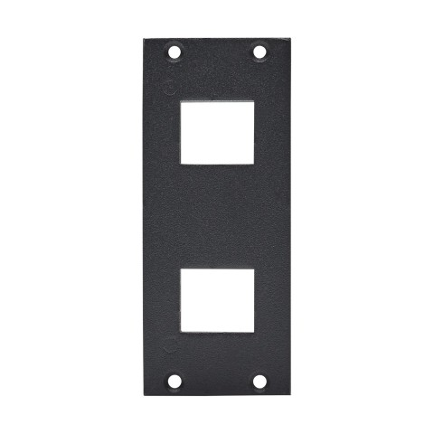 front panel 2 x Cutouts for clip-in modules (Keystrone), 2 HE, 1 BE for SYS-series, Galvanized sheet steel, colour: anthrazith, RAL 7016