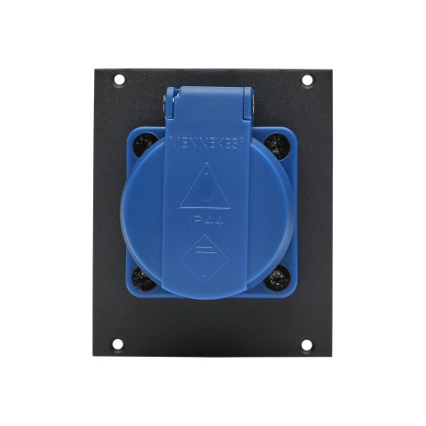 Connector Module 1 x SCHUKO french version, blue, with cover, 16A, 2 HE, 2 BE for SYS-series, colour: anthracite, RAL 7016