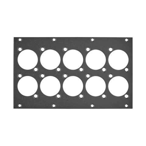 front panel 10 x D-flange, 2 HE, 4 BE for SYS-series, Galvanized sheet steel, colour: anthracite, RAL 7016