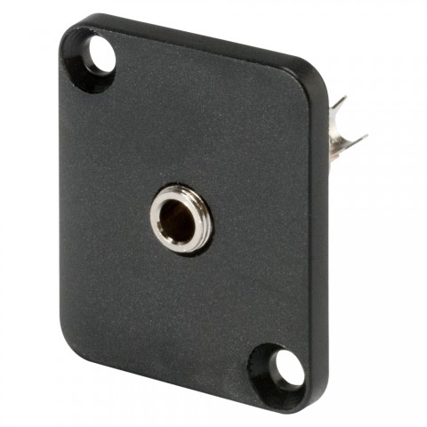 HICON Mini-Klinke (3,5mm), 3-pol , Metall-, Löttechnik-Einbaubuchse, vernickelte(r) Kontakt(e), Type D, schwarz