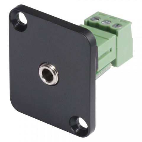 HICON Mini-Klinke (3,5mm), 3-pol , Metall-, Schraubkontakt-Einbaubuchse, vernickelte(r) Kontakt(e), Type D, schwarz