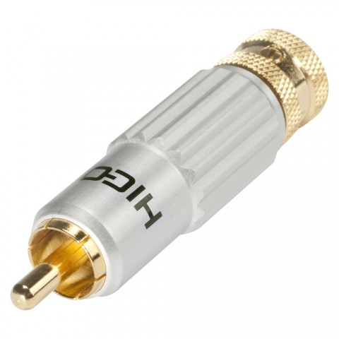 HICON RCA / phono connector, collet lock fixture, 2-pole , metal-, Soldering-male connector, gold plated contact(s), straight, Velvet Chrome high-end finish