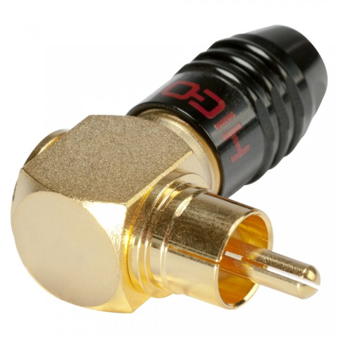 HICON RCA, 2-pole , metal-, screw-type-male connector, gold plated contact(s), angled, black