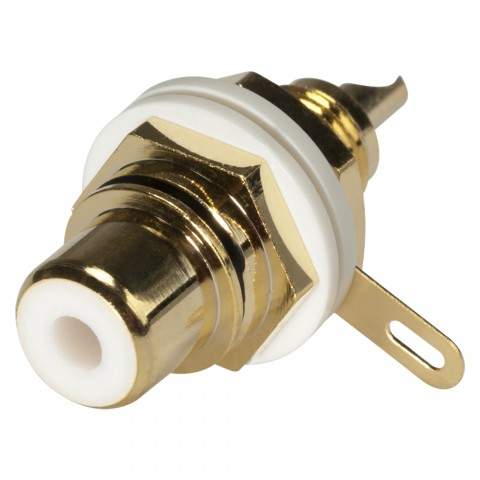 HICON RCA, 2-pole , metal-, Soldering-female connector, gold plated contact(s), screw thread, gold